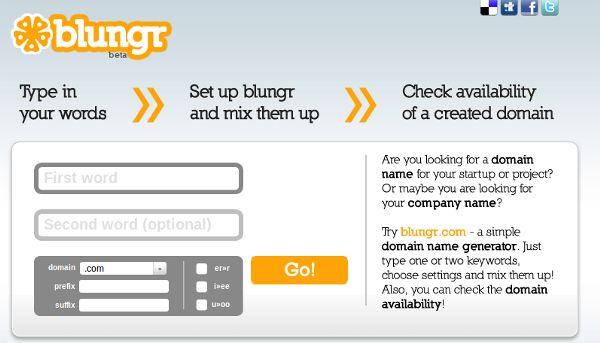 Blungr – Encontre combinações de palavras para seu domínio web