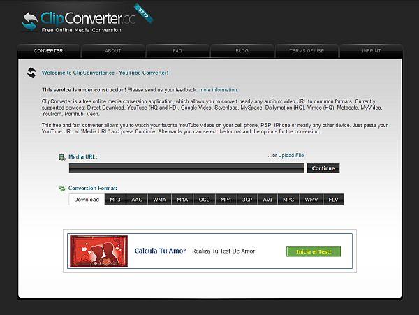 ClipConverter – Conversor online de formatos de vídeo