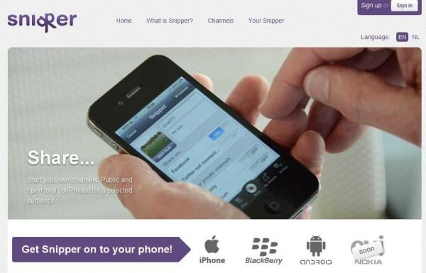 Disponible para iPhone, Android, BlackBerry y próximamente en Symbian, Snippernos permite transformar nuestro dispositivo móvil en un sistema de emisión de vídeo en directo, enviando a otros aparatos sin necesidad de un servidor central.Podemos grabar cualquier evento y transmitirlo de forma pública o privada, necesitndo especificar los usuarios que tendrán derecho a disfrutar del contenido. Según informan, la tecnología detrás de Snipper es diferente de las actuales aplicaciones de intercambio de vídeo. En lugar de compartir los enlaces en plataformas en línea, los vídeos son emitidos de punta a punta, sin necesidad de usar un servidor que guarde el contenido