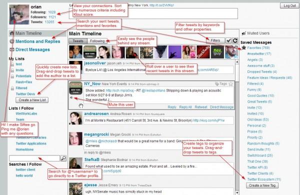 Es tanta la información que puede obtenerse de Twitter, tanto usando filtros, como siguiendo usuarios o gestionando listas, que a veces se hace difícil tener bajo control todos los datos. siftee.com quiere ayudarnos a solucionar este problema con un panel de control bastante intuitivo, con acceso a las informaciones básicas y a las listas y filtros previamente configurados, como podéis ver en la imagen inferior. Podemos buscar, ordenar usuarios según el índice Klout, crear nuevos tags, guardar búsquedas… todo sin necesidad de usar la barra de desplazamiento, mostrando el contenido en una única columna de datos. De momento Siftee se