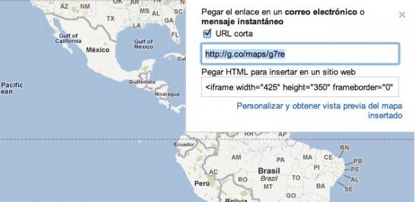 """En el blog de google de latinoamérica acaban de hacer oficial lo que muchos ya esperábamos: se usará el acortador g.co para divulgar mapas con más facilidad.Hace más de un año que es posible generar una url corta para cualquier página de Google Maps en modo de prueba, ahora esta función es oficial y deja de ser un experimento. A partir de hoy, cuando obtengas un enlace a un mapa de Google utilizando el botón """"enlace"""" (link) en la parte superior de la esquina derecha de la página, ahora tienes la opción de obtener un enlace corto y conveniente haciendo"""