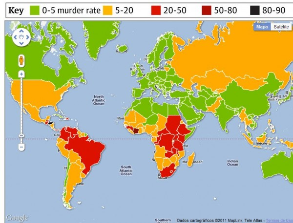 Mapa asesinatos en el mundo