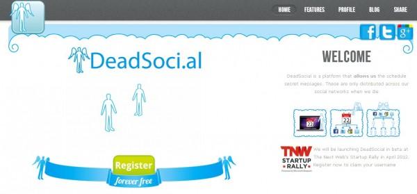 """DeadSocial es un servicio que, a través de un calendario privado que se integra en tus cuentas de Twitter, Facebook y Google+, te permite añadir mensajes para que éstos sean enviados vía las redes sociales a los contactos que elijas después de tu defunción. La herramienta funciona de tal manera que el usuario que escribe los mensajes elige a una persona responsable que, tras su defunción, será la encargada de """"desbloquear"""" el servicio para permitir que todos los mensajes pre-guardados y editados se envíen a los contactos seleccionados en los días elegidos por la persona fallecida. Puedes elegir enviar los"""