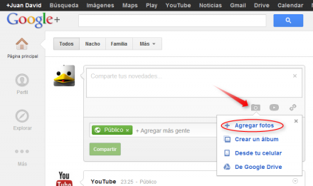 subir fotos google plus