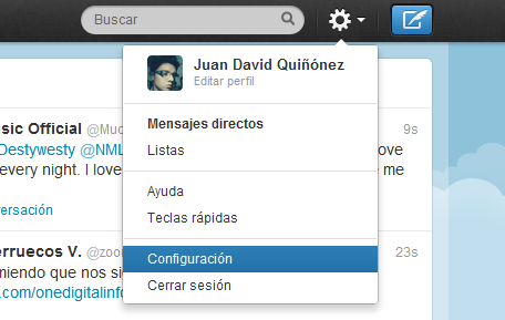 menu configuracion