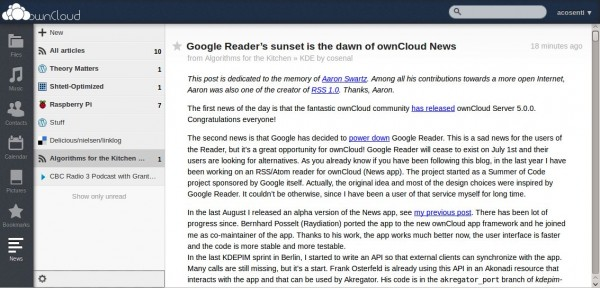 OwnCloud tendrá su aplicación alternativa a Google Reader