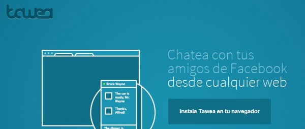 Tawea, chat de Facebook integrado en cualquier página web [Chrome]
