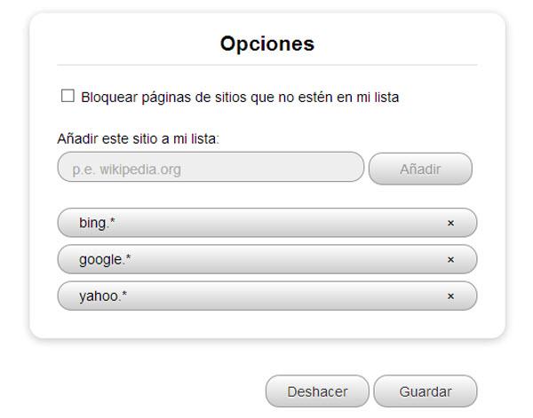 Whitelist para Chrome