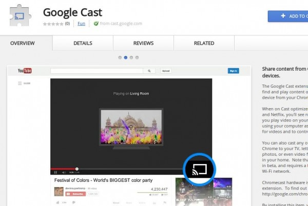 Google Cast, the official Chrome extension to send content