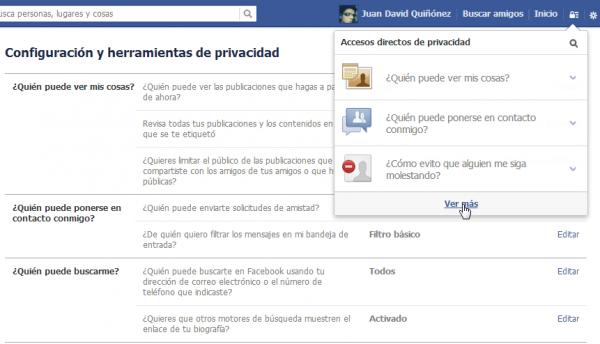 4 opciones de privacidad