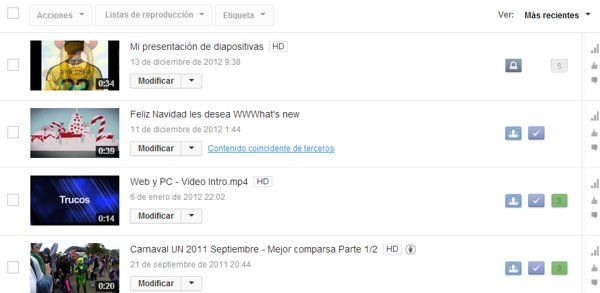 lista de videos