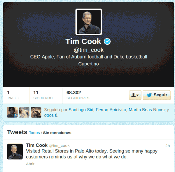 tim cook on twitter