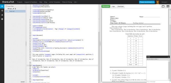 ShareLaTeX, collaborative LaTeX editor, online and with