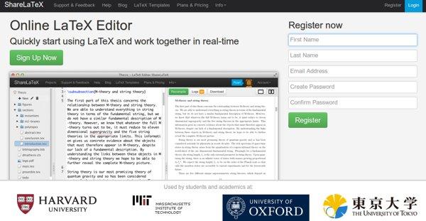 ShareLaTeX, kollaborative LaTeX-Editor, online und mit Dutzenden von ...