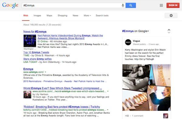 Hashtags de Google+ en Google