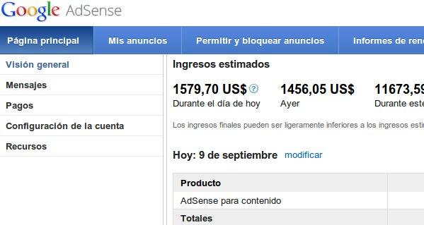 google AdSense-Einnahmen