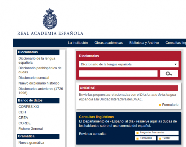 real academia de la lengua