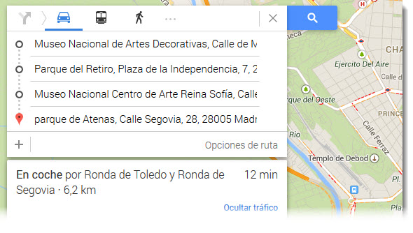 Planificar viaje Google Maps