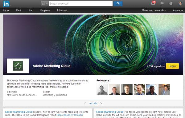 Página de escaparate de Adobe Marketing Cloud