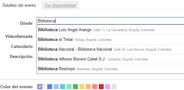 google calendar eventos autocompletado