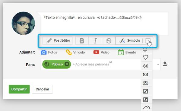 botones de formato editor google+