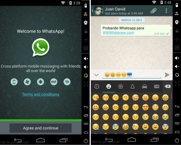 whatsapp genymotion