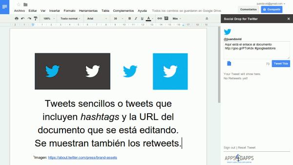 social drop twitter google drive docs