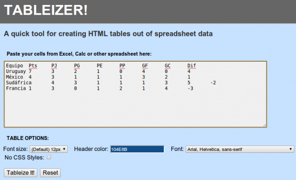 tableizer tablas excel html