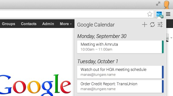 calendar Chrome Extension