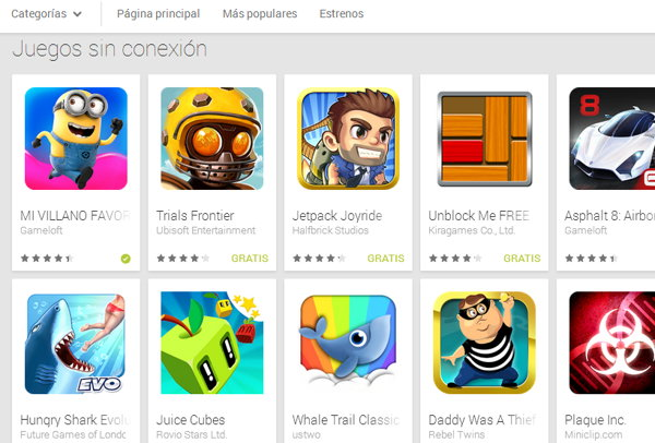 juegos offline android play store