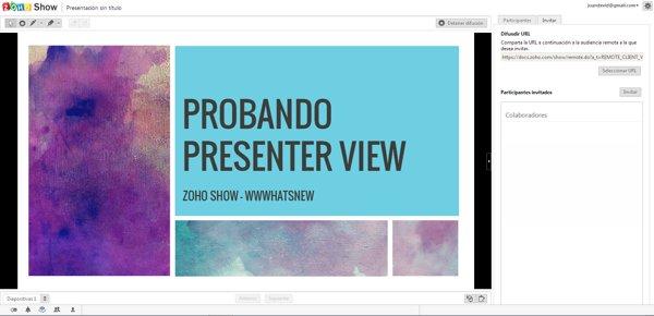 zoho show broadcast slides
