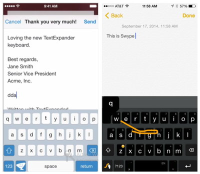 swype y textExpander