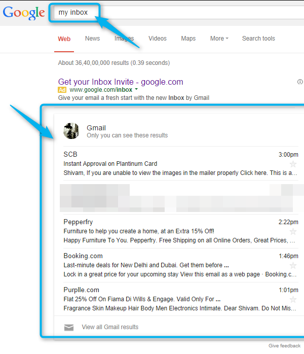 gmail busqueda google now