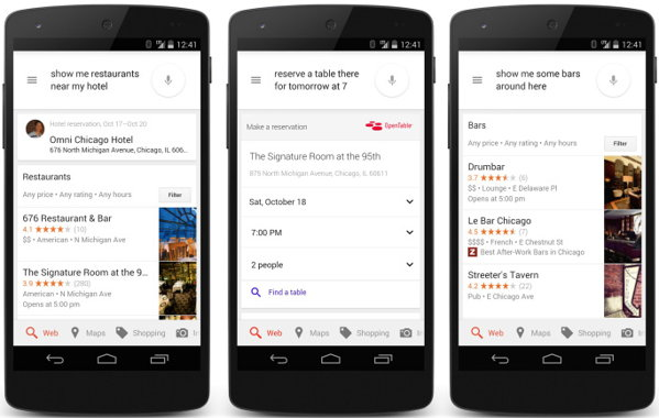 opentable reservations google now hotels