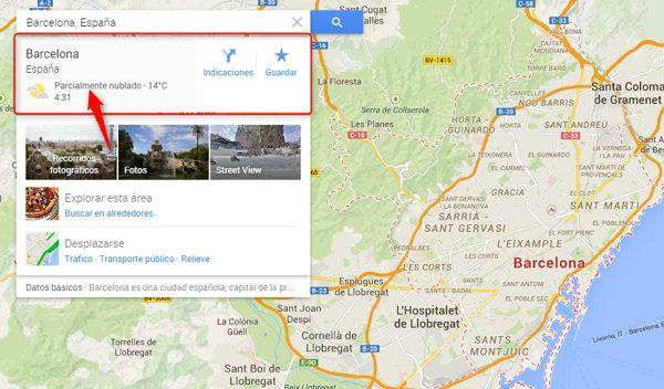 clima en google mapas