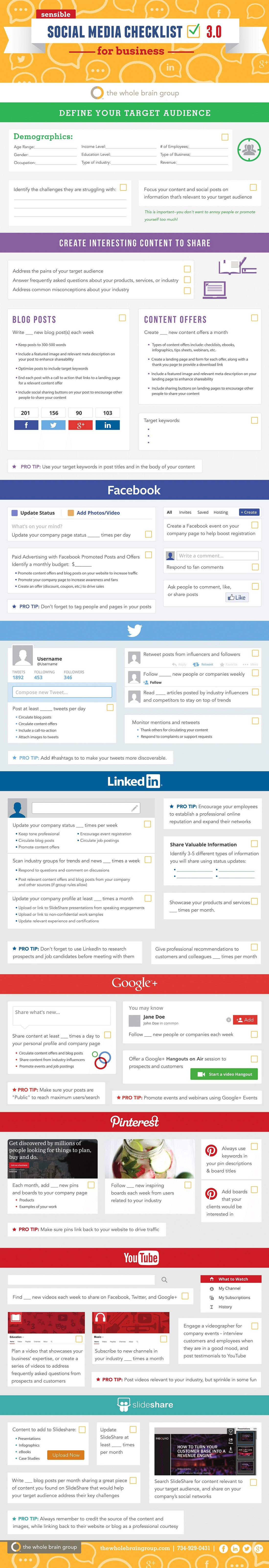 infografia checklist redes sociales negocios