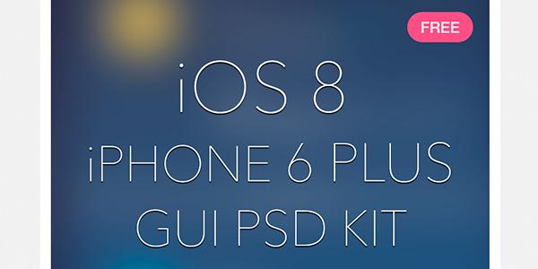 Elementos de diseño para iOS 8 y iPhone 6 Plus en PSD