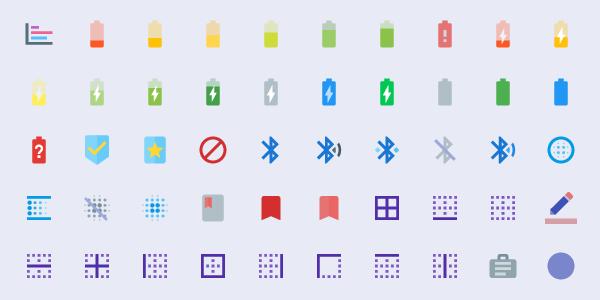 Íconos Material de Google, coloreados y con 600 diseños originales agregados