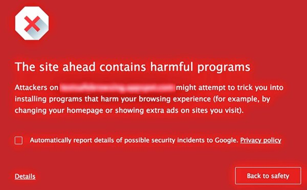chrome alerta unwanted software