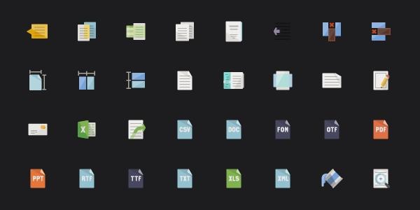 Iconos Flat Con Temática De Escritura Y Papelería