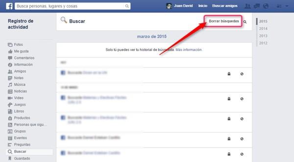 borrar busquedas facebook