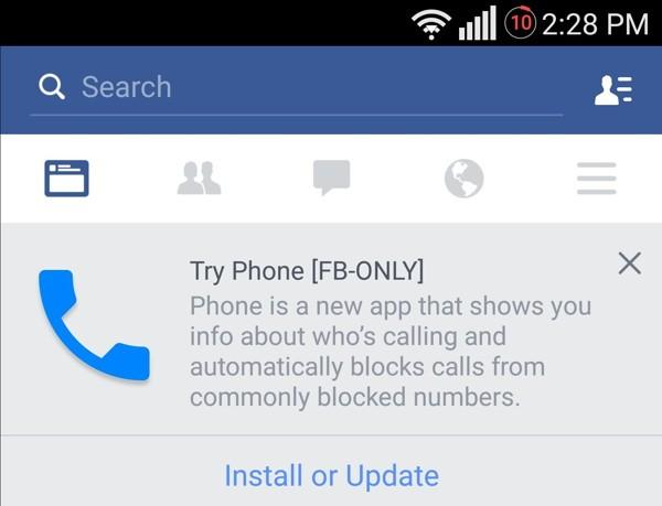 facebook app identificador de llamadas