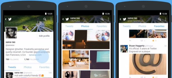 nuevos perfiles twitter android