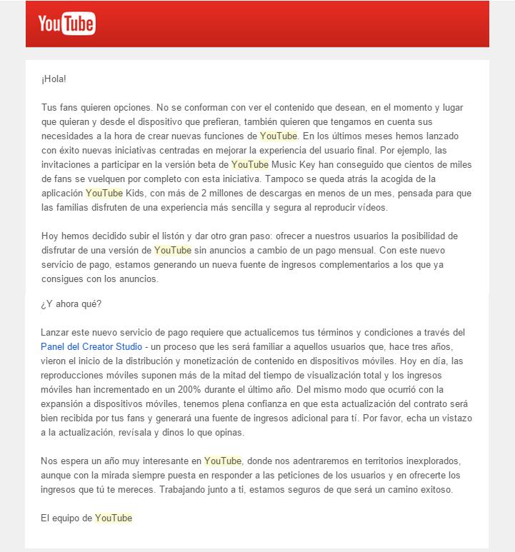correo youtube servicio