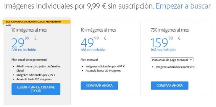 Precios en Adobe Stock