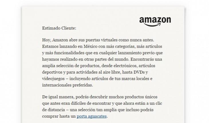 Mensaje de Bienvenida en Amazon México