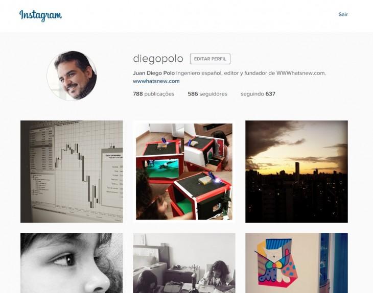 Perfil con diseño nuevo en la web de Instagram