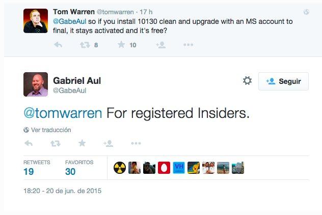 Tweet de Gabriel Au (responsable del programa Insider)