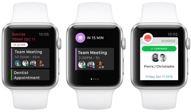 sunrise calendar ya es compatible con el apple watch