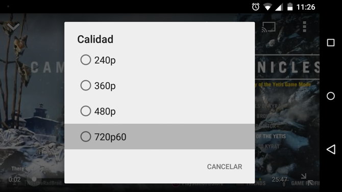 calidad 60 fps youtube android